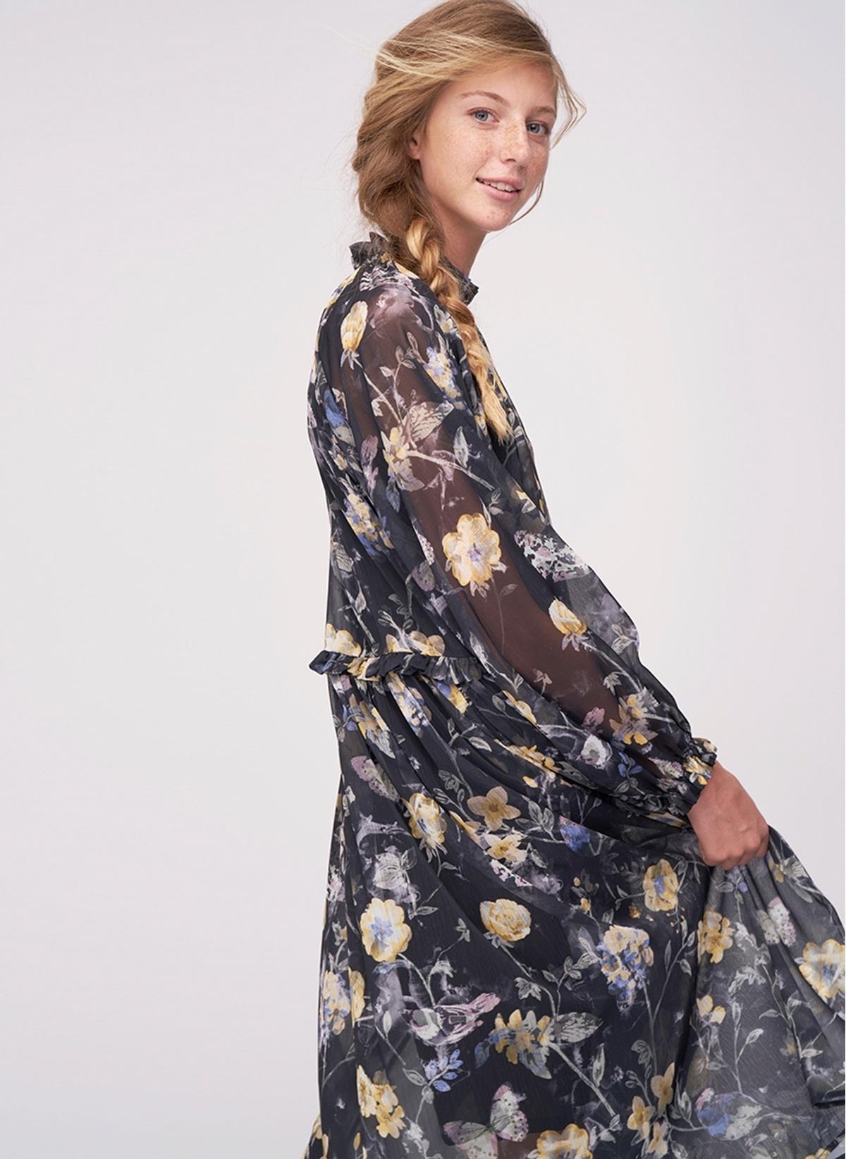 fe244e77356b5 Ribellion Kadın Çiçekli Şifon Elbise Antrasit Multi   Morhipo   19970999